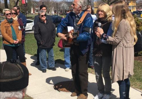 George Hewison, Brenda Wall, Natasha Luckhardt leading in song at Day of Mourning