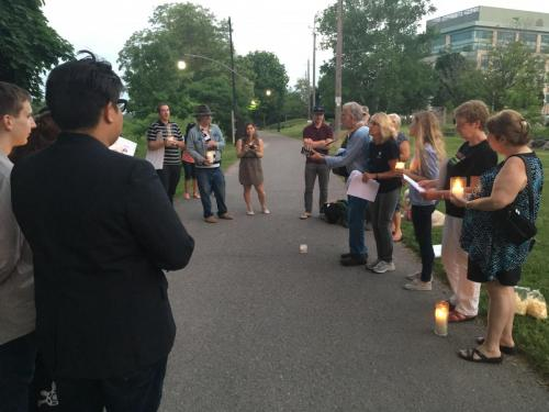 George Hewison leading in song at Candleight Vigil