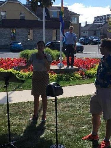 Coun. Diane Thierrien at Pride Flag Raising